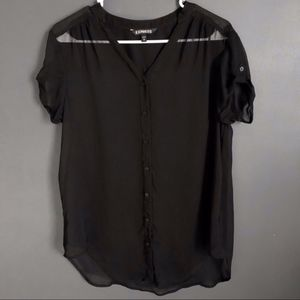 EXPRESS Sheer Black Button-Down Short-Sleeve Top